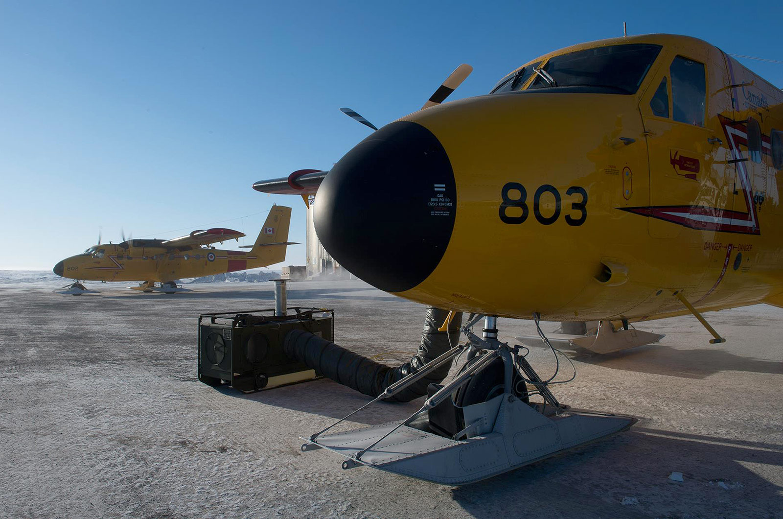 DEW space heater heating twin Otter aircraft in the Arctic.